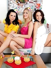 Three Teen Hotties Posing In Bright Outfits And Taking Them Off To Show Their Nude Bodies.
