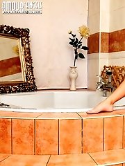 Enchanting Slim Girl Sexually Poses Before Soaking Her Gorgeous Naked Body In A Hot Bath.