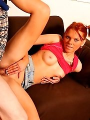 Flirty Redhead Impaled On A Big Thick Cock