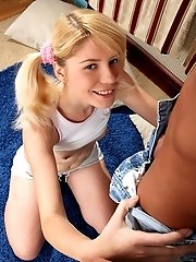Adorable Blonde Girl With Her Hair In Pigtails Getting Her Tight Shaven Pussy Banged Hard.