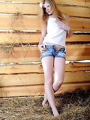 Perfect Teen Cutie Strips Nude In The Barn To Demonstrate Her Lovely Petite Body On Camera.