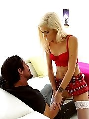 Petite Spinner Halle Von Teases Her Man With A Miniskirt Striptease Then Takes A Hard Pounding In He