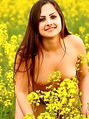 Staggering Nude Rogue Is Wondering In The Boundless Flower Field And Looks Like A Real Goddess In Th
