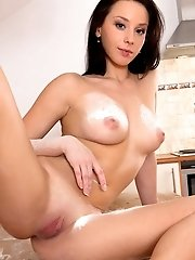 Hot brunette girl bounces high on hard cock