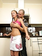 Fine-assed Teen Fucked Hard At The Kitchen