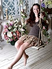 Irresistible Teen Feels Free In The Sweet Smell Of Flowers, Where She Spreads Her Legs To Show Her A