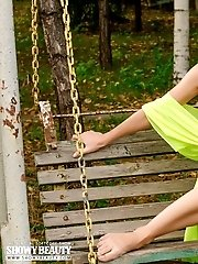 Shapely Brunette Undresses Completely On The Swing, While She Gazes At You, Every Minute Of The Set.