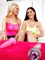 Horny Coeds Alli Rae And Molly Jane Try Out Sex Toys On Each Others Creamy Fuck Holes And Bring Thei
