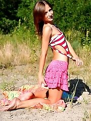 Lovely Slender Babe Likes To Pose Naked On The Sun In Wild Environment. Wilderness Out As Well Insid