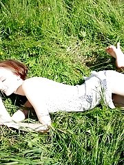 Green Grass Caresses Nude Teens Most Sensitive Parts And Makes Her Feel On Cloud Seven While Posing.