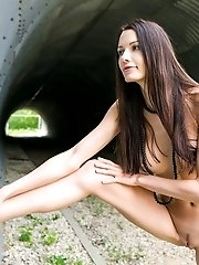 Gorgeous Long Haired Teen Girl With Perfect Big Boobs Posing Absolutely Naked Outdoors.